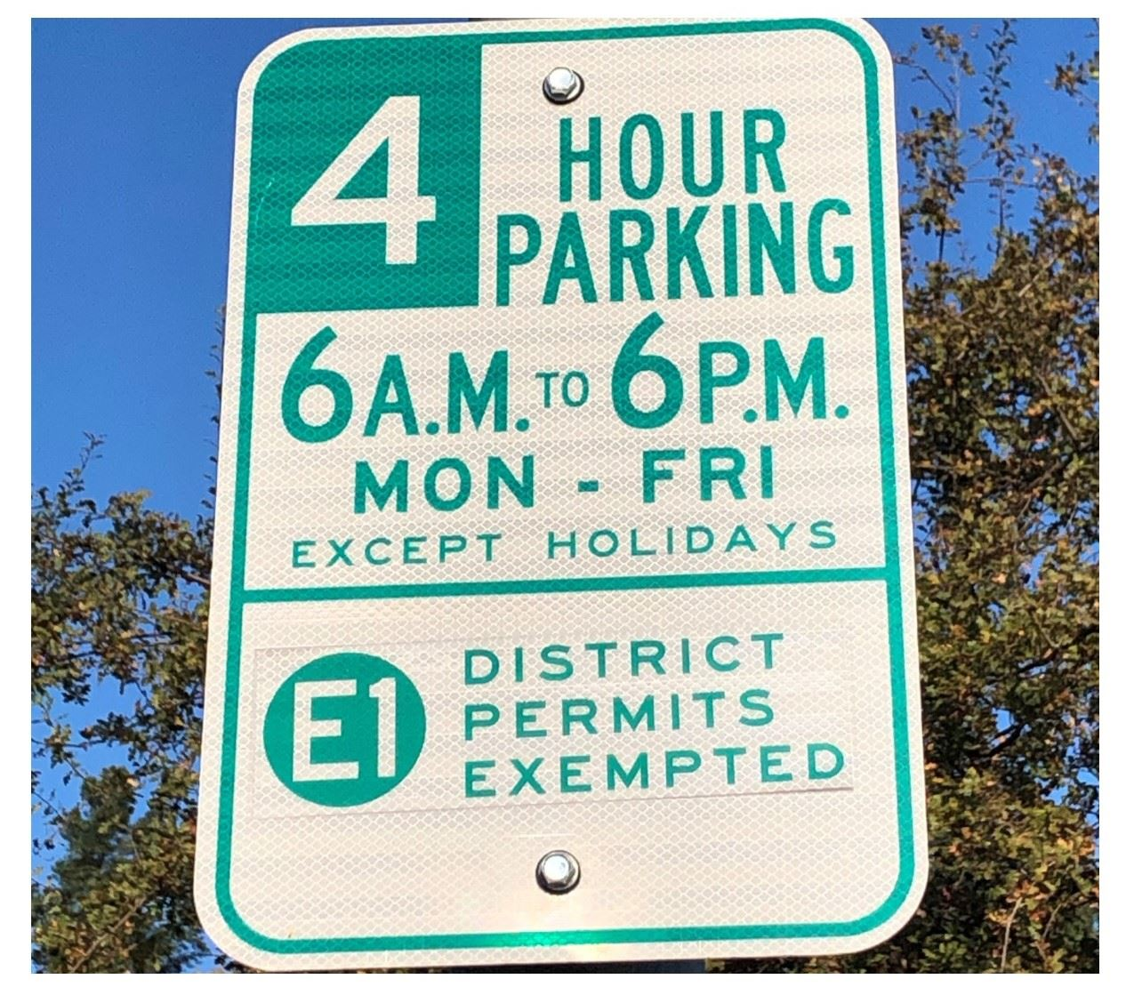 4-Hour Parking Sign