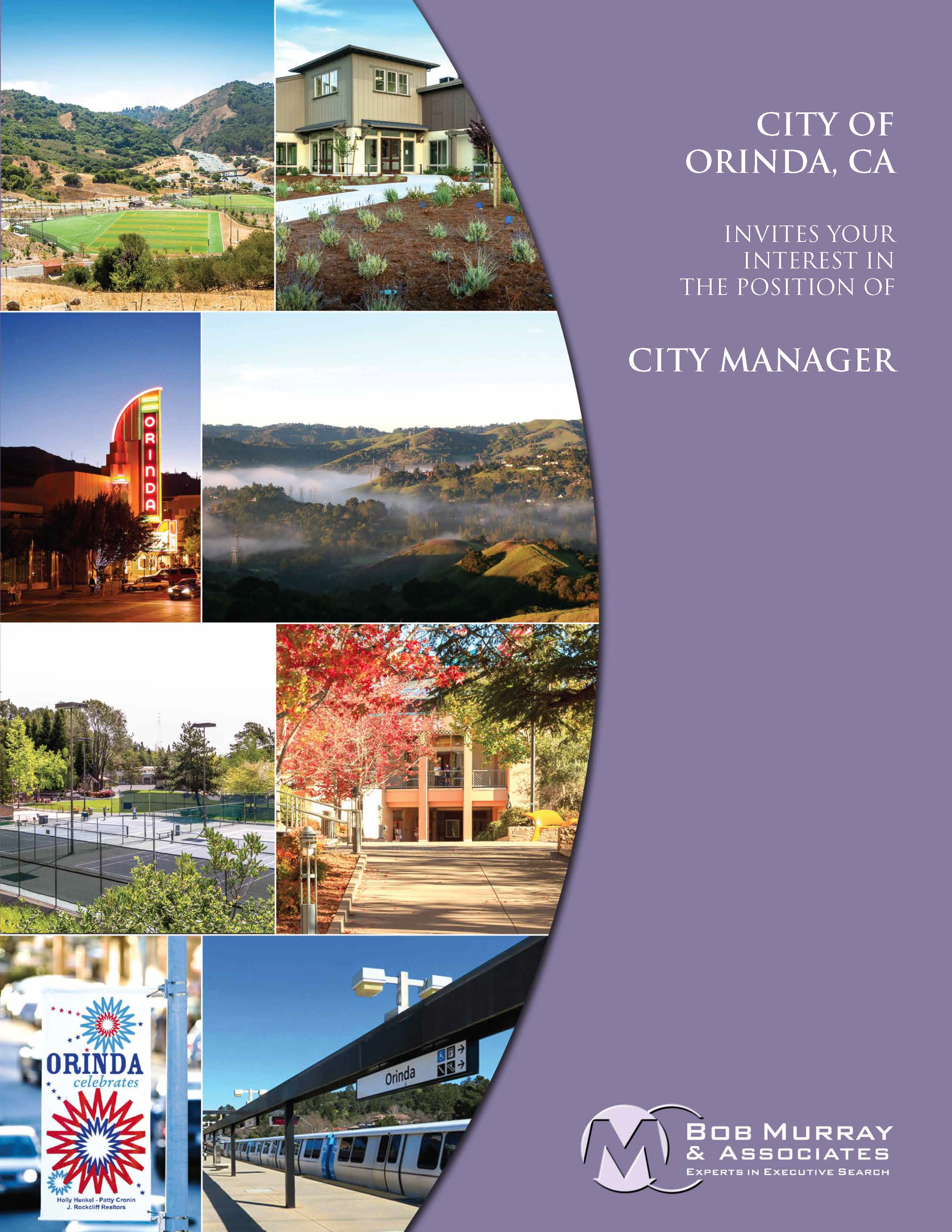 Orinda City Manager brochure cover with beautiful photos of Orinda